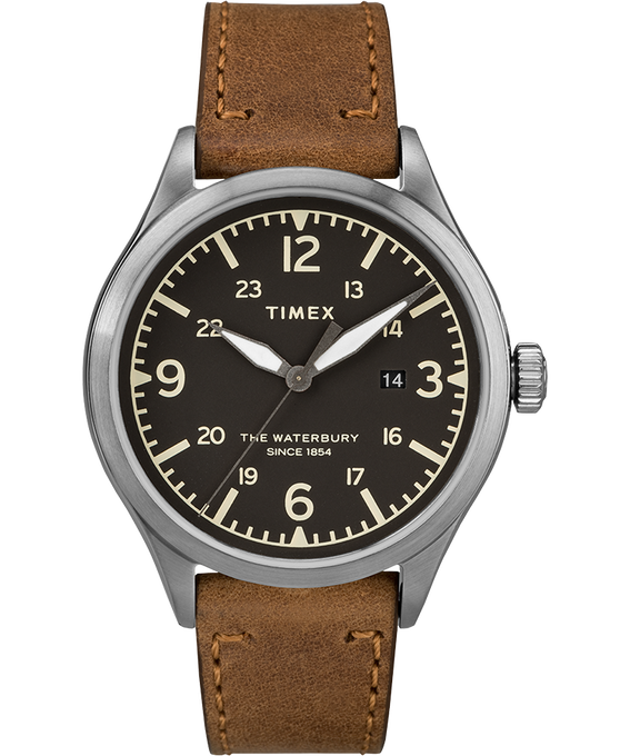 Waterbury Traditional 3 Hand Date 40mm Leather Watch Stainless-Steel/Tan/Black large
