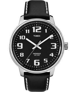 Easy Reader43mm Leather Strap Watch Silver-Tone/Black/Gray large