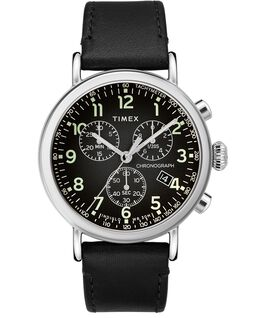 Standard Chronograph 41mm Leather Strap Watch Silver-Tone/Black large