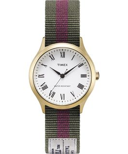 Whitney Avenue mit Ripsband-Armband zum Wenden, 36 mm Goldfarben/weiß large