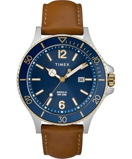 Harborside mit Lederarmband, 42 mm Chrome/beige/blau large