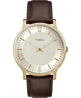 Metropolitan Mens 40mm Leather Watch Gold-Tone/Brown/Silver-Tone large
