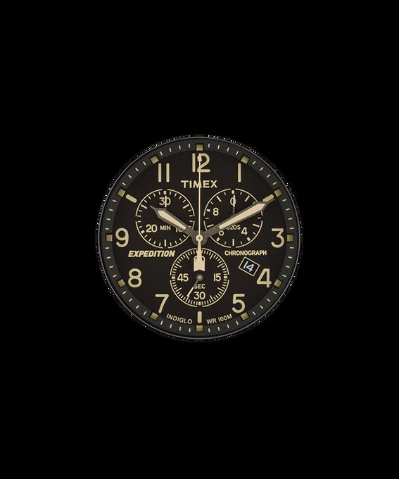 Schwarzes Ziffernblatt/cremefarbener Sekundenzeiger  large