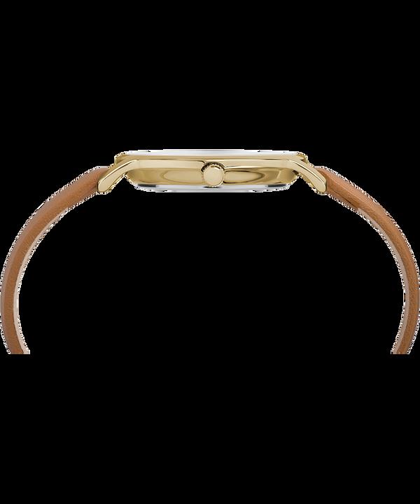 Metropolitan 34mm Leather Strap Watch Silver-Tone/Tan large