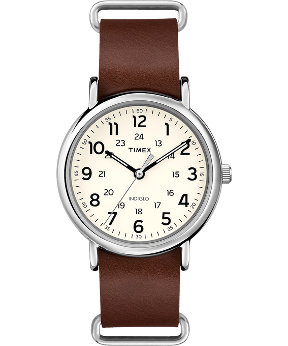 Weekender 40mm Leather Watch    Silver-Tone/Brown/Cream large