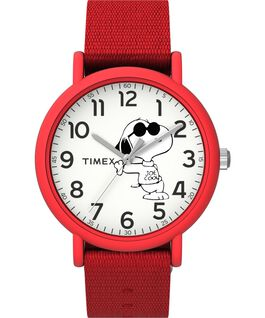 Timex x Peanuts Weekender 34mm Fabric Strap Watch Red/White large