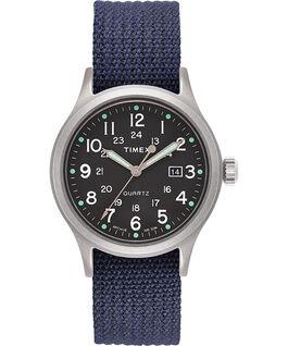 Allied, Textilarmband 40 mm, Uhr mit Punkte-Index Silberfarben/blau/grün large