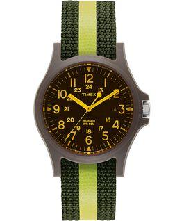 Acadia, gestreiftes Textilarmband, 40 mm, Uhr mit farbigem Glas Grün/schwarz large