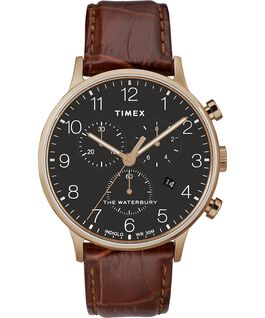 Waterbury-40mm-Classic-Chrono-Leather-Strap-Watch Rose-Gold-Tone/Brown/Black large
