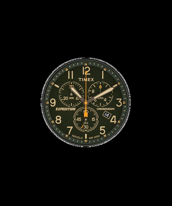 Olivegrünes Ziffernblatt/orangefarbener Sekundenzeiger  large