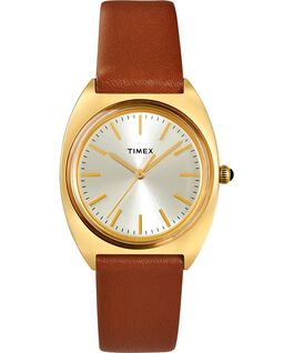 Milano 33mm Leather Strap Watch Gold-Tone/Burgundy/Champagne large