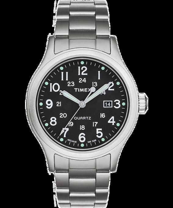 Allied mit Armband aus Edelstahl, 40 mm Silberfarben/Edelstahl/grün large