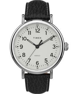 Timex Standard XL mit Lederarmband, 43 mm Silberfarben/schwarz/weiß large