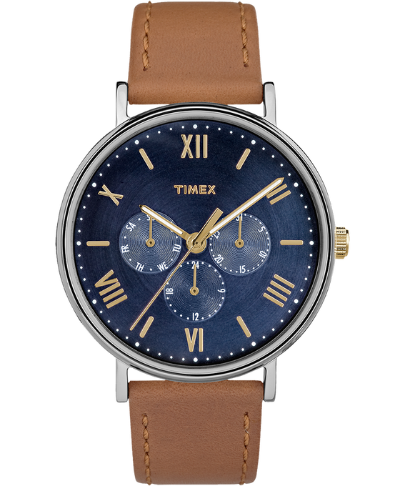 Southview Multifunction 41mm Leather Watch Silver-Tone/Tan/Blue large
