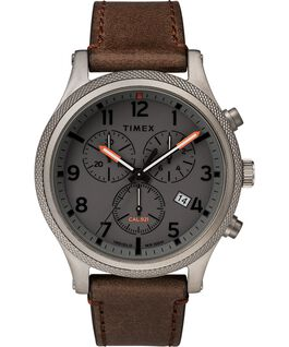 Allied LT Chronograph mit Lederarmband, 42 mm Grau/braun large