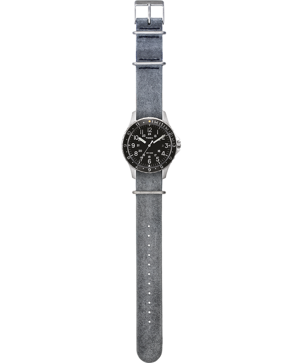 Navi Ocean mit Lederarmband im Stonewashed-Stil, 38mm Edelstahl/grau/schwarz large