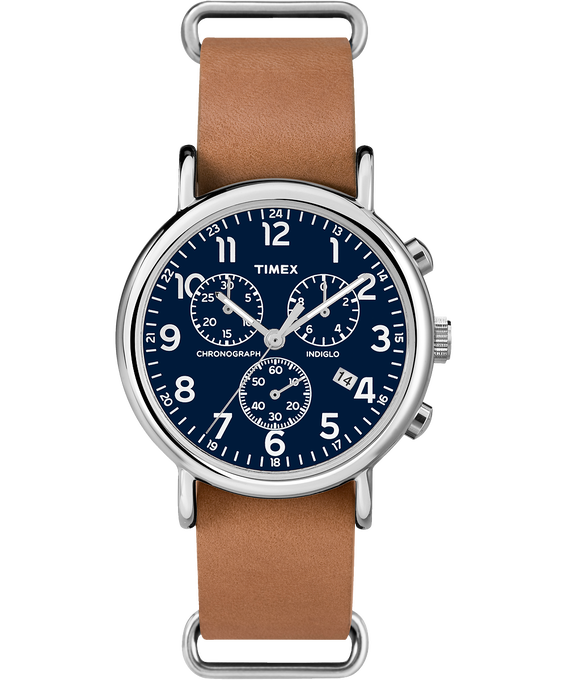 Weekender Chrono 40mm Leather Watch Silver-Tone/Tan/Blue large