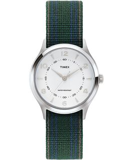 Whitney Village mit Ripsband-Armband zum Wenden, 36 mm Edelstahl/weiß large