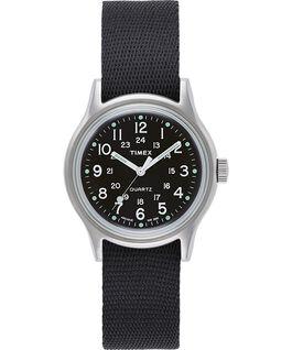 MK1 Military mit Ripsband-Armband, 36 mm Silberfarben/schwarz large