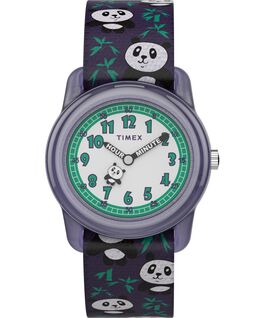 Kids Analog 28mm Elastic Fabric Strap Watch With Animal Prints Purple/White large
