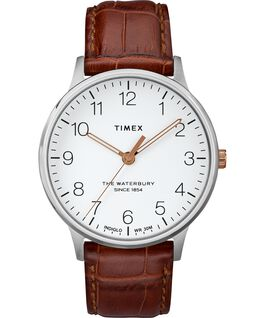 Waterbury Classic 40mm Leather Strap Watch Stainless-Steel/Brown/White large