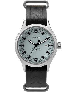 Timex x Keone Nunes mit Lederarmband, 40mm Silberfarben/schwarz/grau large