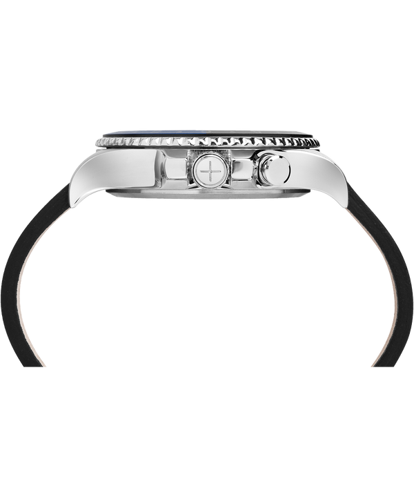 Allied Three GMT mit Lederarmband, 43 mm Stainless-Steel/Black large