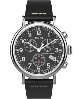 Standard Chronograph mit Lederarmband, 41mm Silberfarben/schwarz/schwarz large