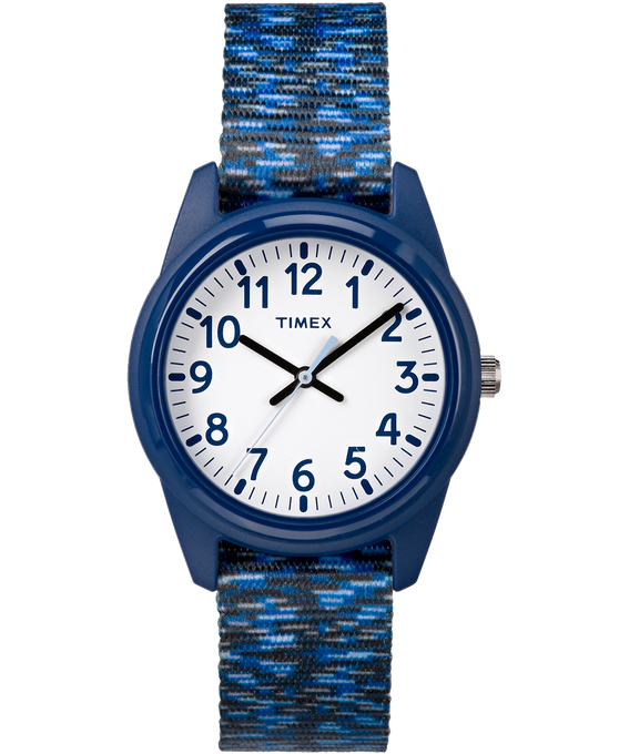 Kids Analog 32mm Digipattern Nylon Strap Watch Blue/White large