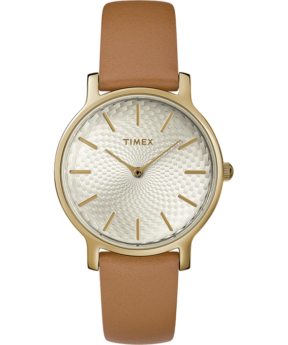 Metropolitan 34mm Leather Watch Silver-Tone/Tan large