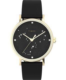 Celestial Opulence 37mm Textured Strap Watch Gold-Tone/Black-LIBRA,SCORPIO,SAGGITARIUS large