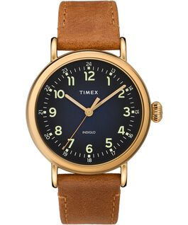 Standard 40mm Leather Strap Watch Gold-Tone/Brown/Blue large