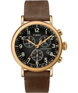Standard Chronograph mit Lederarmband, 40 mm Gold-Tone/Brown/Gray large