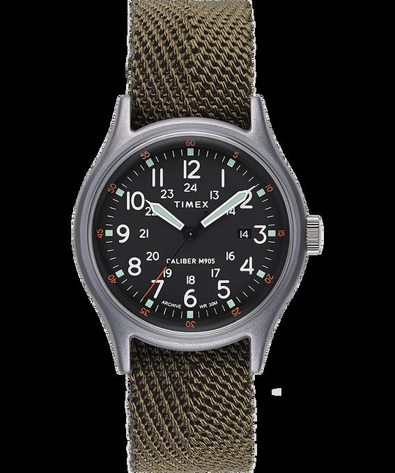 MK1 mit Textilarmband, 40mm Silberfarben/grün/schwarz large