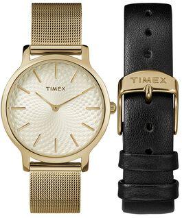 Geschenkset Metropolitan, 34 mm, mit Mesh-Armband und Zusatzarmband Goldfarben large