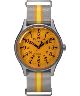 MK1 California mit Textilarmband, 40 mm Silberfarben/grau/orange large