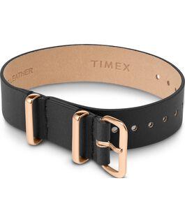 Einlagiges Zugarmband aus Leder, roségoldfarben, 16mm Schwarz large