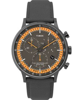 Waterbury Classic Chronograph 40mm Leather Strap Watch with Dial Accent Gunmetal/Gray large