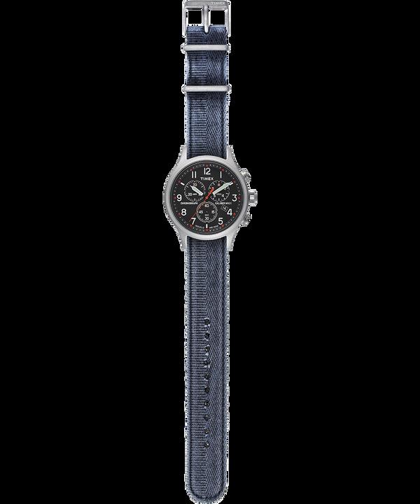 Allied Chronograph mit Textilarmband im Stonewashed-Stil, 42mm Silberfarben/blau/schwarz large