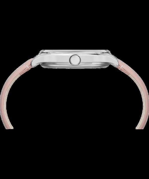 Crystal Bloom mit Lederarmband, 36mm Chrome/Pink large
