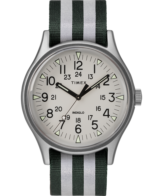 MK1 Aluminum 40mm Reflective Nylon Strap Watch Silver-Tone/Green large