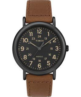 Weekender 2 Piece 40mm Leather Watch Black/Brown large