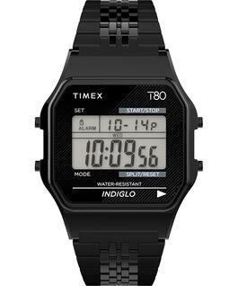 Timex T80 Neuauflage mit Edelstahlarmband, 34 mm Schwarz large