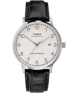 Waterbury Classic Automatic 40mm Leather Strap Watch Stainless-Steel/Black/White large