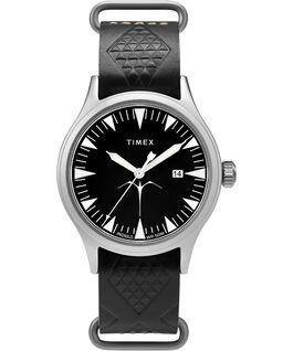 Timex x Keone Nunes mit Lederarmband, 40mm Silberfarben/schwarz large