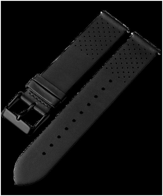 20 mm perforiertes Lederarmband mit Schnellverschluss Schwarz large