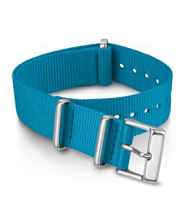 18 mm einfarbiges Durchzugarmband aus doppellagigem Textil Blau large