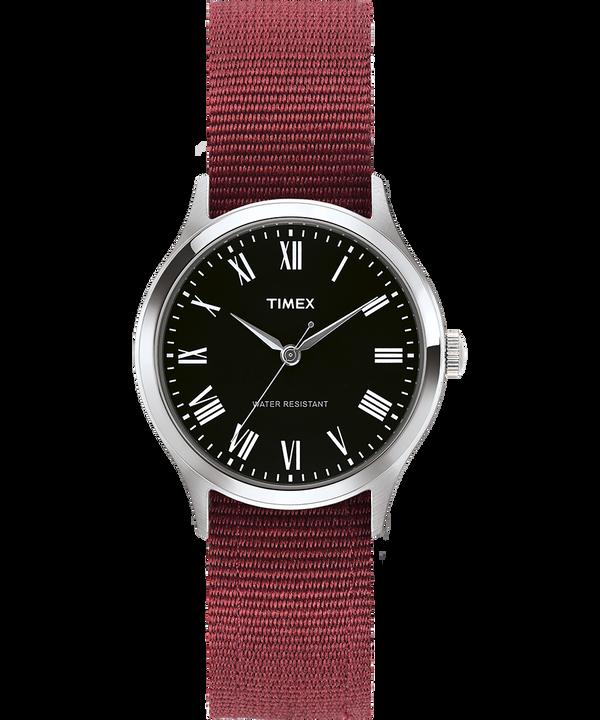 Whitney Avenue mit Ripsband-Armband zum Wenden, 36 mm Edelstahl/schwarz large
