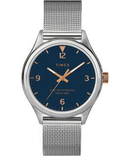 Waterbury Traditional Womens 34mm Mesh Bracelet Watch Stainless-Steel/Silver-Tone/Blue large