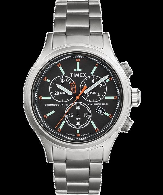 Allied Chronograph mit Armband aus Edelstahl, 42 mm, Uhr mit Stundenzeiger Silberfarben/Edelstahl/schwarz large